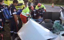 Grave acidente deixa cinco feridos na BR 277 em Céu Azul. Vítimas são de Agrocafeeira.