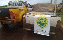 Motorista abandona picape com 16 mil maços de cigarro contrabandeados em milharal em Pato Bragado