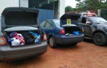 Carros abarrotados de contrabando são apreendidos em Santa Helena