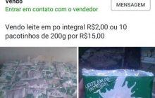 Leite em pó saqueado em acidente é colocado à venda no Facebook em Marechal Rondon