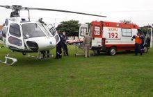 Moradora de Santa Helena é transferida de helicóptero para hospital da região