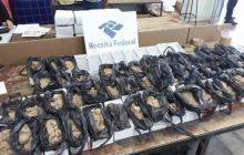 RF encontra areia no  lugar de celulares ao verificar mercadorias apreendidas