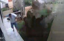 Homem explode quintal de casa ao tentar matar baratas com veneno, gasolina e fogo