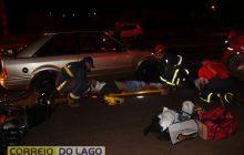 Samu socorre vítimas de acidente de trânsito no trevo da PRE em Santa Helena
