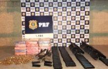Vídeo: Casal que levava armas, munições e drogas de Medianeira para Bahia é preso pela PRF