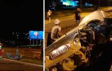 Medianeira: Corolla colide em mureta após ser fechado na BR 277