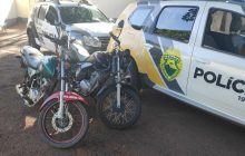 Polícia civil e militar apreendem motos, cujos condutores