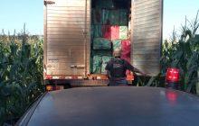 Policiais apreendem caminhão com contrabando, no âmbito da Operação Hórus e Programa VIGIA, em Santa Helena