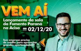 Acisa abrirá sala da Fomento Paraná e poderá atender propostas de créditos de até R$1,5 milhão