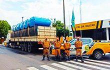 Polícia Rodoviária de Santa Helena realiza apreensão de carreta carregada com 4.670 kg de maconha e 80 caixas de munição
