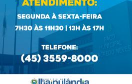 Itaipulândia: Administração retoma atendimento ao público nesta segunda-feira (18)