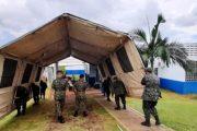 Medianeira: Exército/Tiro de Guerra realiza montagem de barraca de apoio ao atendimento Covid-19