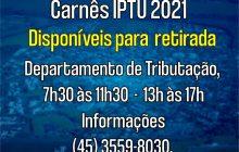 Carnês do IPTU 2021 disponíveis para retirada em Itaipulândia