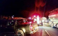 Mulher morre após caminhonete bater contra barranco na PR-495, em Missal