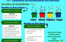 Em Santa Helena recolha de resíduos é organizada por distritos; confira as datas e locais