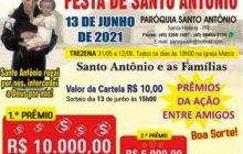 Pandemia adia Festa de Santo Antônio, mas ação entre amigos sorteia hoje 22 mil em dinheiro e outros prêmios