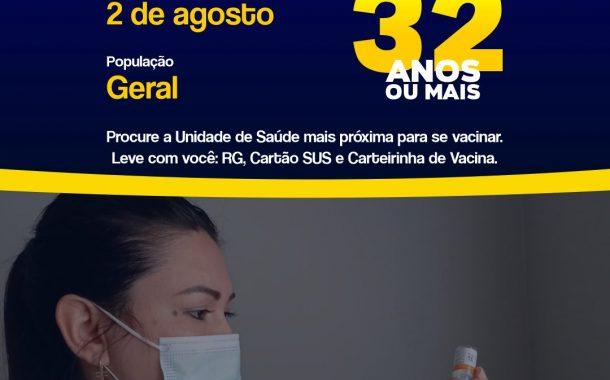 Itaipulândia recebe mais 168 doses de vacina e faixa etária baixa para 32 anos