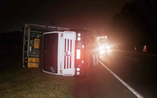 Caminhão de São Miguel do Iguaçu carregado com frangos tomba na BR-277