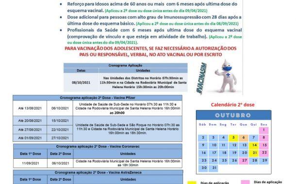 Vacinação contra Covid-19 continua nesta sexta (15) em Santa Helena; Veja o Calendário